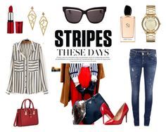 """""""Stripes"""" by krisztismind on Polyvore featuring ONLY, Marc Jacobs, Kevia, Christian Dior, Giorgio Armani, Madden Girl and stripes"""