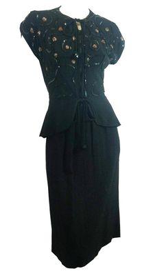 Chic Black Crepe Rayon Cocktail Dress w/ Gelatin Sequin Detail and Peplum circa 1940s Dorothea's Closet Vintage Clothing