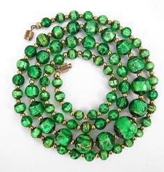 Vintage Venetian Art Deco Emerald green foil glass bead necklace long lovely  | eBay