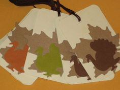 10 Gift Tags Leaves with Turkeys Thanksgiving Fall by Judyscrafts