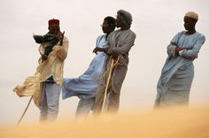 Photographer Pascal Maitre made this image of four men standing together with their backs to the wind while on assignment in the Sahel, an area of semiarid grassland that lies on the edge of the Sahara and stretches across northern Africa Out Of Africa, East Africa, Blowin' In The Wind, Special Images, Scenery Photography, We Are The World, Photo Colour, Republic Of The Congo, Illustration Art