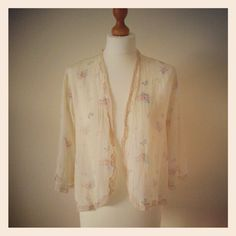Dreamy 1930s silk and lace butterfly / floral kimono top
