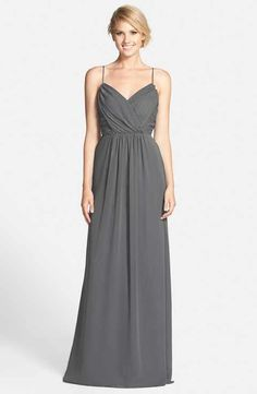 Jim Hjelm Occasions Draped V-Neck A-Line Chiffon Gown