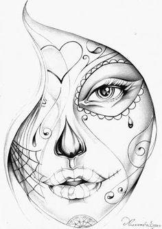 Resultado de imagem para catrina desenho preto e branco