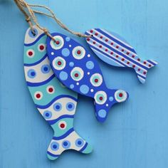 Blue Wavy Fishie Bunch Bunch of wooden fish [] - £18.00 :... | review | Kaboodle