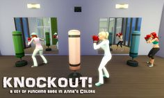 I was super disappointed in the lack of colors for the punching bags, so I went a head and recolored these. They all have the same black base, it's the EA texture but I darkened it, and it comes in all 30 of Anna's Colors.     Credits: Anna for her colors and haiseazale for her actions.    Download: Here