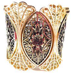 VizDiva's Adjustable wide antique gold leaf stretchable bangle bracelet