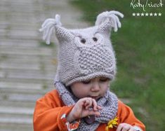 Knitting PDF Pattern Ropes n Pearls Hat and Scarf Set (Toddler, Child, Adult sizes) Knitted Owl, Knitted Hats, Crochet Hats, Diy Crafts Knitting, Aran Weight Yarn, Hat And Scarf Sets, I Cord, Owl Hat, Knit In The Round