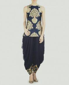 Dhoti pants wd short brocade shirt Dhoti Salwar Suits, Patiala, Lehenga Blouse, Indian Party Wear, Designer Wear, Summer Dresses, Formal Dresses, Kurti, Blouse Designs