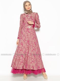 Patterned Evening Dress - Fuchsia - BURUN