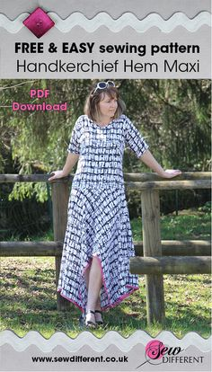 FREE sewing pattern for women. The handkerchief hem maxi dress is super easy and has step by step instructions on the blog post. PDF download or draw out yourself. Throw it on over a swim suit or dress it up for the evening - perfect for your summer suitcase! Happy sewing!