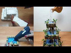 How to make waterfall fountain show piece Diy Fountain, Waterfall Fountain, Plaster Crafts, Concrete Crafts, Easy Arts And Crafts, Diy Crafts, Glue Gun Crafts, Diy Shows, Mini Fairy Garden