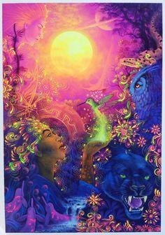 "Original Hand Painted on Canvas ""Guardianes de la Noche"" by Jorge Ramirez, student of Amaringo Jorge Ramirez, Amazon Rainforest, Medicinal Plants, Art School, Peru, Nativity, Oil On Canvas, My Arts, Museum"