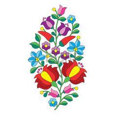 Magyar népi minta - Kalocsai hímzés virágokkal és paprikás photo