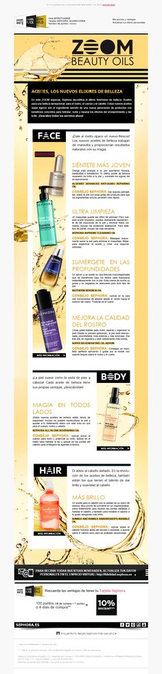 Newsletter específica de aceites para Sephora. Sephora, Journey Mapping, Marketing Plan, Healthy Life, Packaging, Branding, Layout, Weight Loss, Cosmetics
