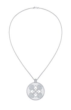 Louis Vuitton Monogram Fusion medallion-style diamond pendant necklace in white gold, with a star-cut diamond at the centre.