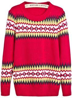 Red Long Sleeve Geometric Pattern Knit Sweater US$25.90