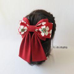 髪飾り 縮緬 Wリボンはいからさん(桜&深赤)着物・袴・浴衣・卒業式 の画像1枚目