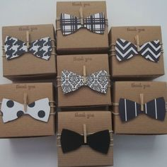 bow tie favor boxes with a mini clothes pin and natural twine.