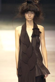 Dress with Oversized Braid detail - plaited texture & pattern; asymmetry in fashion design  // Yohji Yamamoto