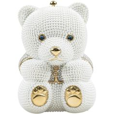 Judith Leiber Wedding $4695 White Gold Tone Faux Pearl Rhinestone Bear... ($4,695) ❤ liked on Polyvore featuring jewelry, white gold jewellery, rhinestone jewelry, bear jewelry, glitter jewelry and fake pearl jewelry