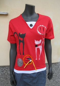 Red Hand Painted Cotton T-shirt/ Cats hand by DesignByAglikaPirou