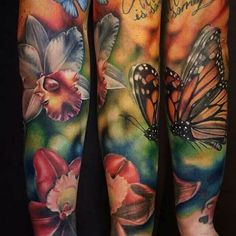 This butterfly looks so realistic I bet it could attract a mate. #InkedMagazine #Butterfly #realism #realistic #butterflies #Inked #ink #art #floral #flower #tattoo #tattoos