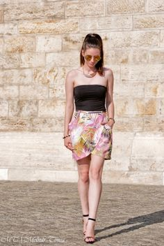 Mimi's (lifeofpeam.com) outfit on streetfashionbudapest.hu. Wearing: handmade, Amisu, H&M and Bijou Brigitte