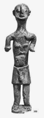 """Fig. 3. Bronzetto nuragico  """"Offerente"""", alt. 13.5 cm, Museo Archeologico Nazionale di Cagliari. """" [..]il sesso non è scoperto, ma si apprezza ugualmente dal gonfiore sotto il gonnellino [...]. Da:  Sculture della Sardegna Nuragica G. Lilliu 1966  A. Moravetti Illisso 2008"""