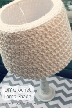 """Quick and Easy""  - 13"" diameter lampshade.   - Any Super Bulky weight yarn (Like Lion Brand Wool-Ease)  - Size N crochet hook"
