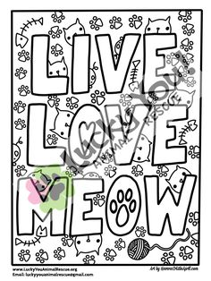 Cat Coloring Page Printable Book Pages Animal Rescue Charity Pets Gifts