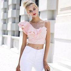 Simplee One shoulder irregular blouse shirt women tops Summer pink shirt blouse chemise femme Elegant backless ruffle blusas One Shoulder Shirt, One Shoulder Tops, Crop Top Outfits, Crop Top Shirts, Cheap Crop Tops, Backless Top, Two Piece Dress, Fashion Outfits, Fashion Trends