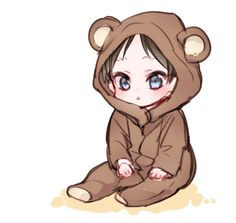 Kawaii kid in a teddy bear suit Anime Chibi, Kawaii Anime, Chibi Boy, Cute Chibi, Bebe Anime, Eren E Levi, Character Art, Character Design, Familia Anime