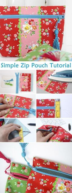 How to make a zip pouch…Simple Zip Pouch Tutorial Easy Sewing Projects, Sewing Hacks, Sewing Tutorials, Sewing Crafts, Bag Tutorials, Beginners Sewing, Tutorial Sewing, Bag Patterns To Sew, Sewing Patterns