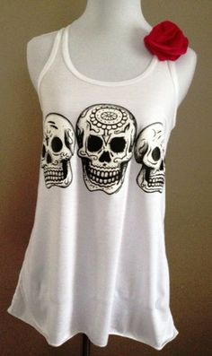 Mexican Day of the Dead Skulls on Flowy by SohoGirlDesign on Etsy, $25.00- I LOVE this shirt!