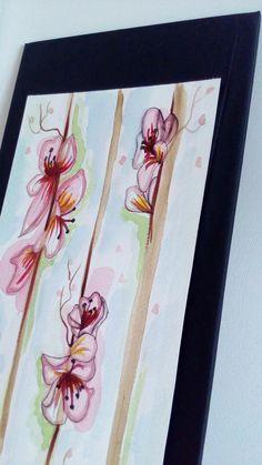 Mi piace il recupero...ho rivestito la tavola di legno con della stoffa nera semilucida e incollato il cartoncino dipinto ad acquarello... ♡arte♡pittura♡fiori♡handmade