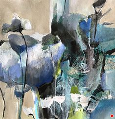 Aspirations-Abstract Botanical by Joan Fullerton, Mixed Media, 15 x 15 Abstract Landscape Painting, Abstract Watercolor, Art Floral, Contemporary Abstract Art, Art Moderne, Abstract Flowers, Hanging Art, Abstract Expressionism, Mixed Media