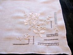 Handkerchief Embroidered Wedding Hankies Bridal by VintagebyTeresa, $21.99