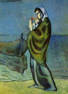 "Pablo Picasso - ""Mother and child on the shore"". 1902"