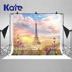 Sunset Paris Eiffel Tower Building View Photography Backdrops