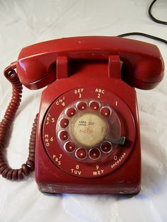 50s Red Telephone that's rotary for home by GoosenestPrairieRose, $35.00