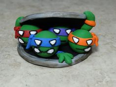 REDUCED with FREE SHIPPING-Teenage Mutant Ninja Turtles Clay Cake Topper