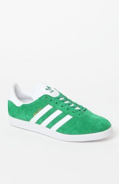 adidas Gazelle Green & White Shoes by Adidas
