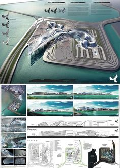 Winners of the The Hong Kong Boundary Crossing Facilities Competition - eVolo Floating Architecture, Modern Architecture Design, Concept Architecture, Futuristic Architecture, Landscape Architecture, Architecture Presentation Board, Presentation Boards, Architectural Presentation, Airport Design