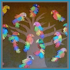 Grandma's Craft And Cooking Corner: Parrot Handprints