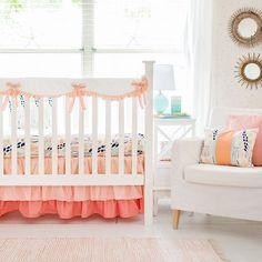 Girl Peach Crib Rail Cover Bedding Set |  Summer Grove II Bumperless Collection