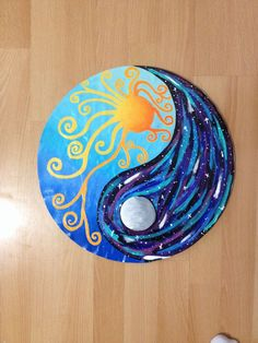 Sun and moon ying yang design Ying Y Yang, Yin Yang Art, Yin Yang Tattoos, Art Pierre, Vinyl Record Art, Moon Painting, Painting Art, Rock Design, Rock Crafts