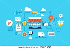 Online shopping, Eshop, Internet selling, online marketing. Flat design modern vector illustration concept.
