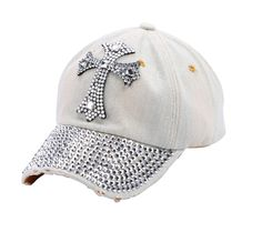 10f7a86445ee99 Ladies Cheap Beautiful Denim Jean Bling Cross Baseball Cap, Lovely cap  accented with glitter style