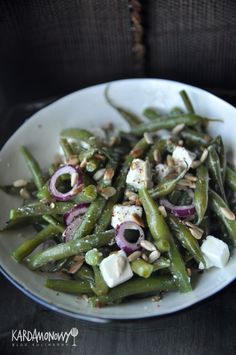 Salad Recipes, Snack Recipes, Healthy Recipes, Snacks, Healthy Food, Kitchen Magic, Feta, Asparagus, Green Beans